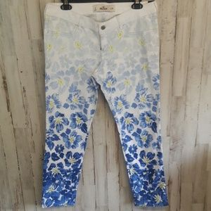 Hollister Blue White Ombre Floral Jeans Pants NWT